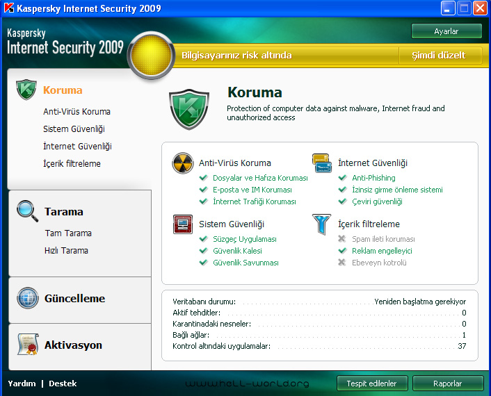kaspersky turkce tr Kaspersky İnternet Security 2009