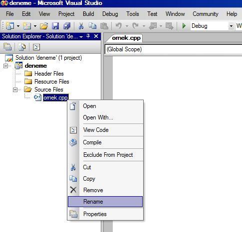 Visual Studio da C ile Çalışmak