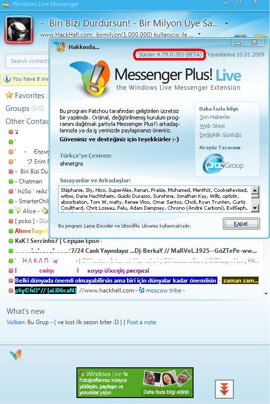 live plus Plus Live! 7.79.0.353 beta   Windows Live Messenger Uyumlu