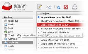 main screen RoundCube; Sunucunuz üzerinden webmail hizmeti verin